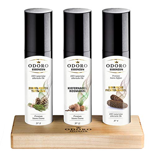 Saunaaufguss Duft Set inkl. Holzständer - 100% ätherische Öle – Fichtennadel, Kiefernadel, Zirbelkiefer