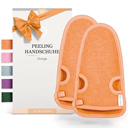2 Stück - LoWell® - Peelinghandschuh rau inkl. Peeling-Guide + 2 x BONUS Saugnapf - Entspannung für deinen Körper - Wellness Handschuh - Dusch Schwamm Body - Hamam Handschuhe Gesicht (Orange)