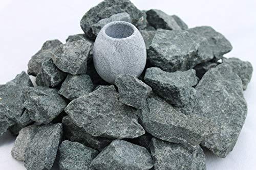 (5 kg. ) Saunasteine Diabas (vorgewaschen) 23-56 mm + Saunakko Saunatasse als SET