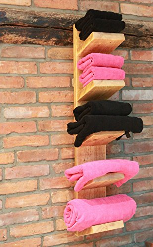 Holz Handtuchhalter Handtuchregal Natur (hängend mit 5 Ablagen)