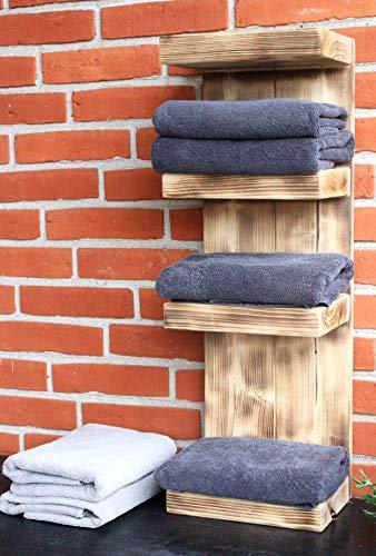 Dekorie Badregal Bad Handtuchhalter Handtuch Regal Holz braun geflammt