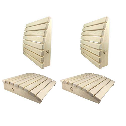 SudoreWell® 4 x Sauna Kopfstütze + Rückenstütze Premium abgerundet aus hochwertigem Abachiholz