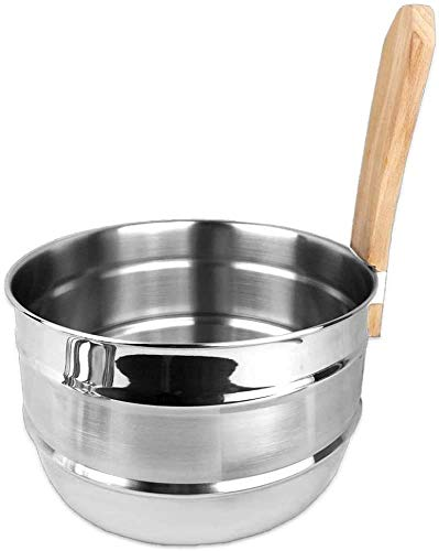 Saunakübel Saunaeimer 5 Liter aus Edelstahl mit Griff aus Buchenholz by OPA/Lumo