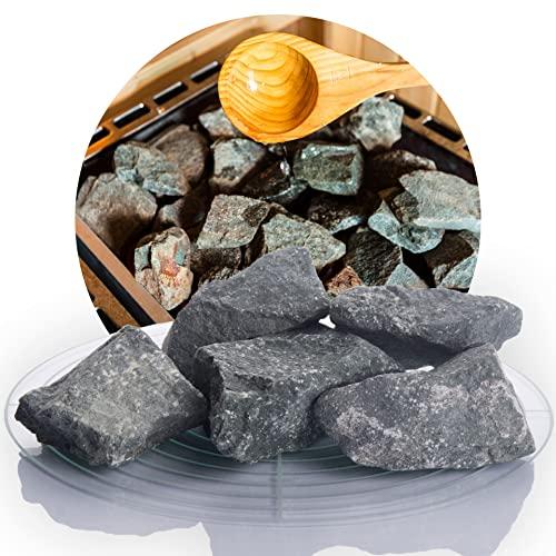 Deutsche Diabas Saunasteine 10 kg 5-8 cm, hochwertige Aufgusssteine für den Saunaofen, vorgewaschen