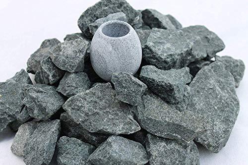 10 kg Saunasteine Diabas (vorgewaschen) 23-56 mm + Saunakko Saunatasse als SET