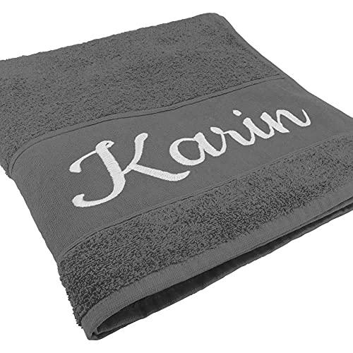 Handtuch mit Namen oder Wunschtext Bestickt, personalisiertes Duschtuch, individuelles Badetuch, 100% Baumwolle, 180 x 100 cm anthrazit
