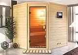 Sauna-Spar-Set: Karibu Scandic Sauna 38 mm Massiv Helsinki 3 Classic (Eckeinstieg) für niedrige Räume inkl....