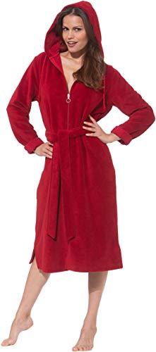 Morgenstern Bademantel Damen I Reißverschluss I Kapuze I Rot I XL