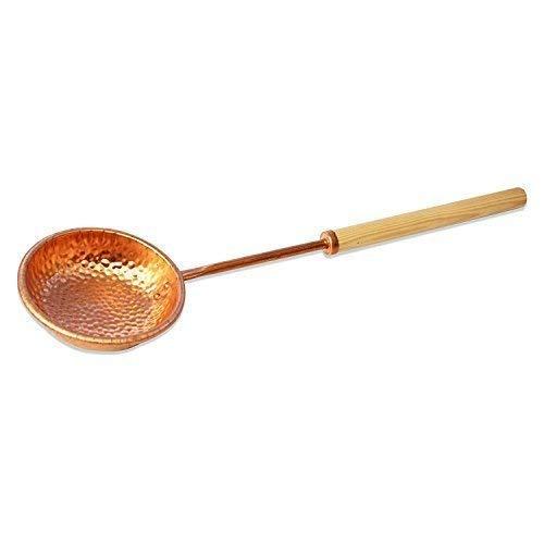 SudoreWell® Saunakelle Schöpfkelle aus Kupfer mit Holzgriff ca. 37cm