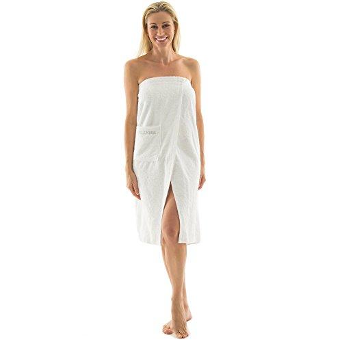 aqua-textil Wellness Saunakilt Damen 90 x 150 cm weiß Baumwolle Saunasarong Frottee Kilt Langer Schnitt