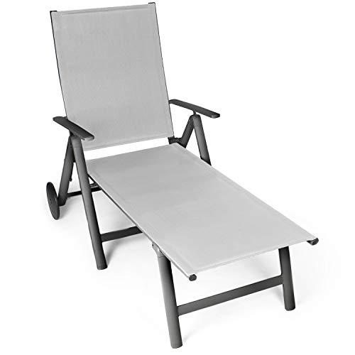 Vanage Sonnenliege in schwarz - Gartenliege mit 2 Rädern - Liegestuhl ist klappbar - Gartenmöbel -...