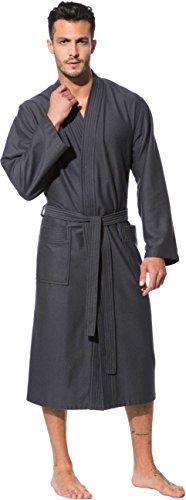Morgenstern Kimono Bademantel Herren Saunamantel Grau Kimonobademantel Morgenmantel Baumwolle Microfaser Viskose Bambus Männer Größe XL Michael