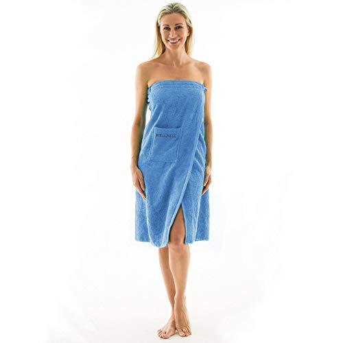 aqua-textil Wellness Saunakilt Damen 90 x 150 cm hell blau Baumwolle Saunasarong Frottee Kilt Langer Schnitt