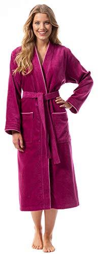 Morgenstern Bademantel für Damen aus Bio Baumwolle ohne Kapuze in Fuchsia Frauen Bademantel lang Sauna Mantel Frottee Größe XL Lotte