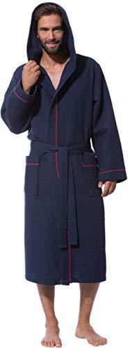 Morgenstern Waffelpique Bademantel Herren in Marine wadenlang Männer Morgenmantel Kapuze Größe L Saunamantel Duschmantel zweifarbig einfarbig blue