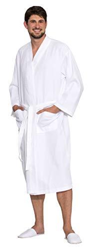 ZOLLNER Unisex Bademantel, 100% Baumwolle, Waffelpique, XL, weiß