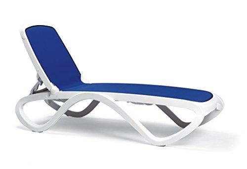 NARDI 40.417.00.112 Bäderliege Omega, 170/194,5 x 69 x 91 cm, Vollkunststoffgestell weiß, Polyester Bezug blau