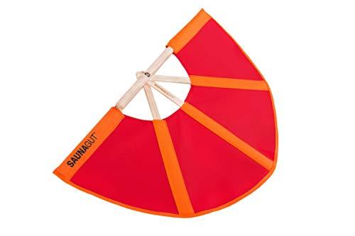 Saunagut® Aufgussfächer Esche KLEIN, Farbe:orange+rot