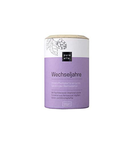 PURE ELLA WECHSELJAHRE, Vitalstoffkomplex bei Symptomen der Wechseljahre, enthält Mönchspfeffer und Nachtkerzenöl, unterstützt natürlich und hormonfrei, vegan (60...