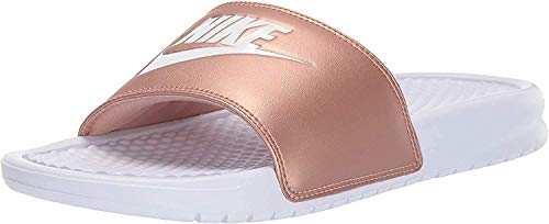Nike Womens WMNS Benassi JDI Slide Sandal, White/White-Metallic Red Bronze, 40 1/2 EU