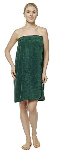 Arus Saunakilt für Damen 100% Bio-Baumwolle-Frottee mit Gummizug und Klettverschluss Größe: P/S, Farbe: Jagdgrün