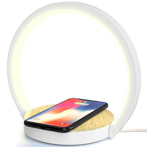 Nachttischlampe Tischlampe mit Wireless Charger 10W Nachtlicht touch dimmbar mit 3 stufige Helligkeit für Schlafzimmer von ELEHOT