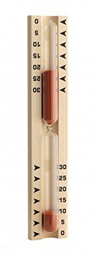 TFA Dostmann Sauna Sanduhr, 40.1046, aus Buche, Saunazubehör, 0 bis 30 Minuten, rot