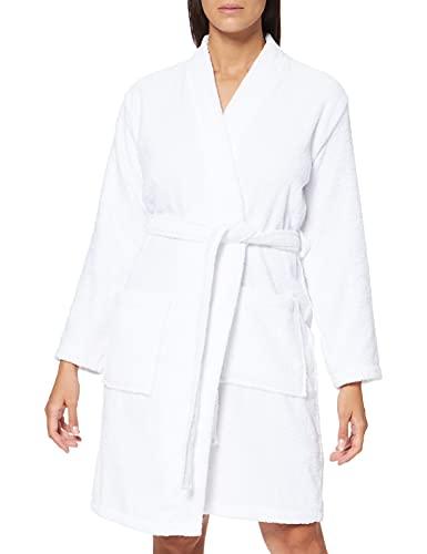 Amazon-Marke: Iris & Lilly Damen Kurzer Frottier-Hausmantel, Weiß (White), S, Label: S