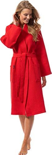 Morgenstern Bademantel für Damen aus Bio Baumwolle ohne Kapuze in Rot Sauna Bademantel wadenlang Haus Mantel Baumwolle Größe XL Paula