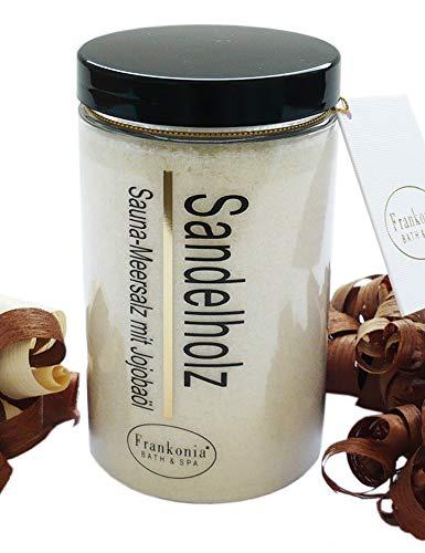 Lashuma Sauna Salz Sandelholz mit Jojobaöl, Körperpeeling 400 g