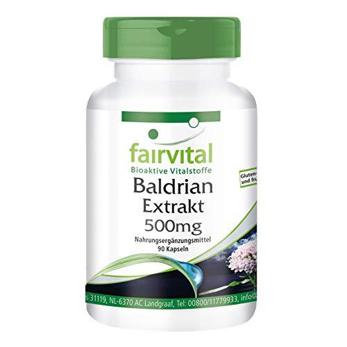 Baldrian Extrakt Kapseln - HOCHDOSIERT - 500mg Baldrianwurzel-Extrakt 4:1 pro Kapsel - VEGAN - Valeriana Officinalis - 90 Kapseln