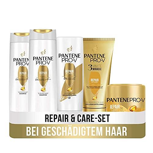 Pantene Pro-V Haarpflege Set: 2x Repair & Care Shampoo 300ml + 1x Pflegespülung 200ml + 1x 3 Minute Miracle 150ml + 1x Intensiv-Maske 300ml, Haarpflege Trockenes Haar,...