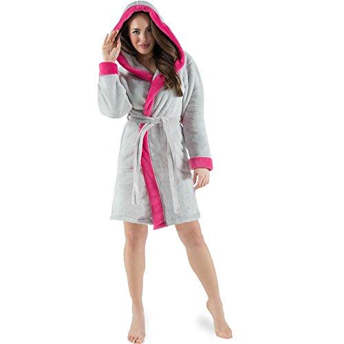 CelinaTex Kos Damen Bademantel mit Kapuze XS grau pink Sherpa-Fleece Saunamantel kurz Morgenmantel Kapuzen-Mantel