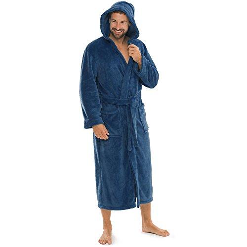 aqua-textil Bademantel Damen Malibu M blau Saunamantel Herren Coral Fleece Morgenmantel mit Kapuze