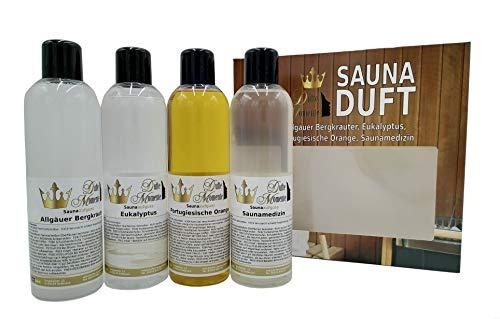 4 x 250ml Saunaaufguss Konzentrat - Allgäuer Bergkräuter, Eukalyptus, Portugiesische Orange, Saunamedizin - das exklusive Set von Dufte Momente in attraktiver Umverpackung