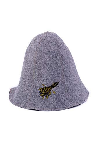 Ger3as Saunahut Wolle mit Stickerei für Damen und Herren, Wellness Mütze Premium Qualität (Bad besen)