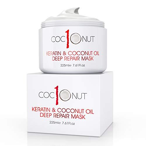 Haarmaske mit Kokosöl & Keratin-Protein - Feuchtigkeitsspendende Maske - Intensive Feuchtigkeitsreparatur für trockenes, strapaziertes Haar, Spliss, Locken & gefärbtes Haar...