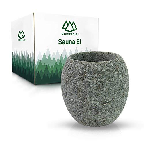 NORDHOLZ® Sauna Ei aus hochwertigem Speckstein - Für einen langanhaltenden und intensiven Duft - Saunaei perfekt für Aufguss oder Mentholkristalle - Hochwertiges Sauna...