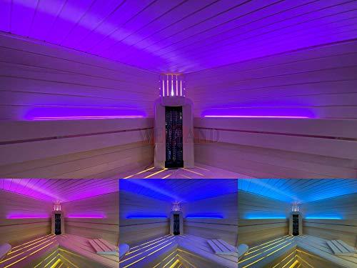Weigand SAUNA FARBLICHT LED COLORLIGHT im Aluminiumprofil I Saunazubehör I Zubehör I Nachrüsten I Beleuchtung I Licht (COLORLIGHT SET 1 Meter)