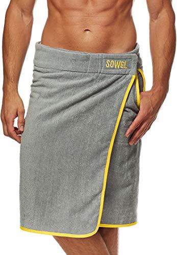 Sowel® Saunakilt Herren, 100% Bio-Baumwolle, Saunahandtuch mit Klettverschluss, Saunatuch, 60 x 140 cm, Grau/Gelb