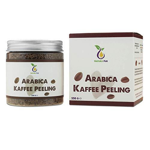 NATURA PUR Arabica Kaffee Peeling 250g, vegan - natürliches Body Scrub Körperpeeling - Anti-Aging Pflege gegen unreine Haut für Gesicht und Körper