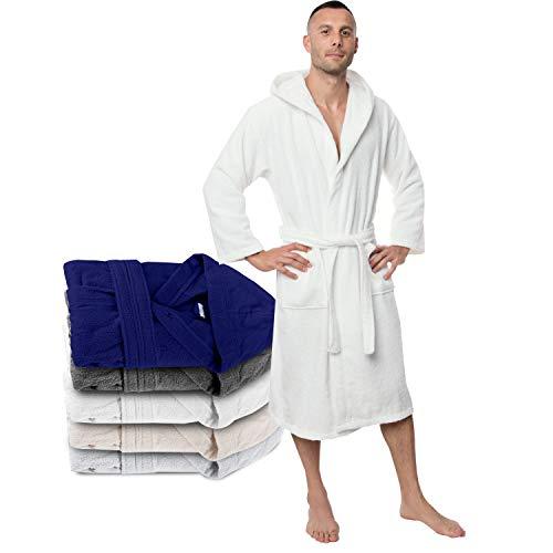 Twinzen Bademantel 100% Baumwolle Kapuze für Herren Oeko TEX Zertifiziert - Morgenmantel 2 Taschen, Gürtel und Schlaufe zum Aufhängen - Weich, Saugfähig und Bequem, XS,...