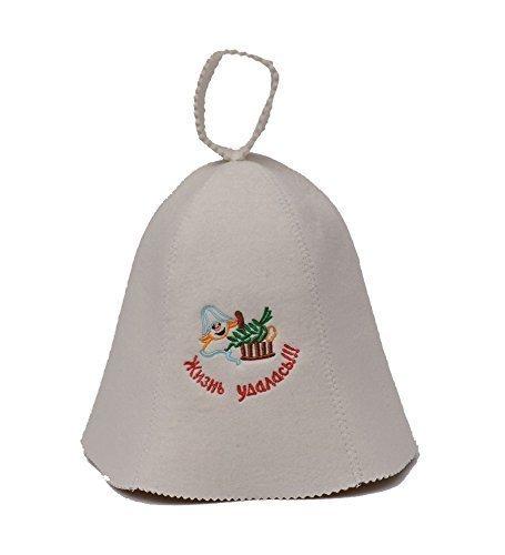 GMMH ® Saunahut 'Russisch: жизнь удалась' (1155) Saunamütze Saunakappe Filzkappe Filzhut aus 100% Filz Hut Kappe für Sauna