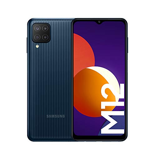 Samsung Galaxy M12 Android Smartphone ohne Vertrag, Quad-Kamera, 6,5 Zoll Infinity-V Display, starker 5.000 mAh Akku, 128 GB/4GB, Handy in Schwarz, (Deutsche Version)...
