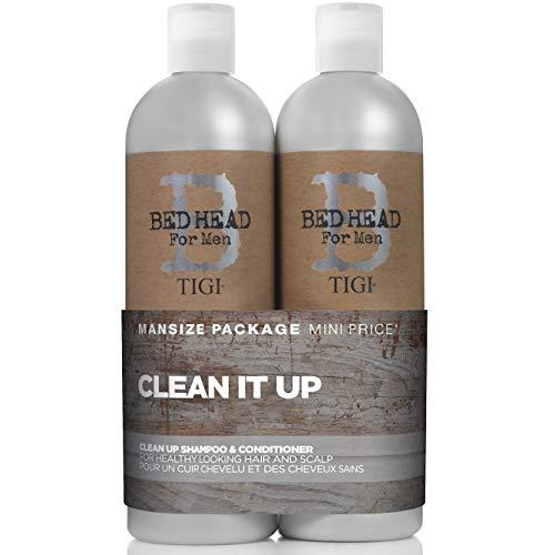Bed Head for Men by Tigi Clean Up Männershampoo und -conditioner für die tägliche Anwendung, 750ml, 2Stück