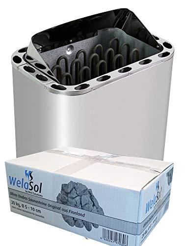 WelaSol Edelstahl Saunaofen Next von 8 kW | für finnische Sauna von 7-13 m³ | geeignet für externe Steuerung bis 9 kW d.h. ohne integrierter Steuerung | mit WelaSol...
