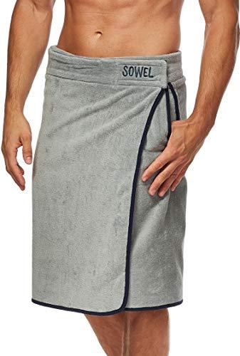 Sowel® Saunakilt Herren, 100% Bio-Baumwolle, Saunahandtuch mit Klettverschluss, Saunatuch, 60 x 140 cm, Grau/Navy