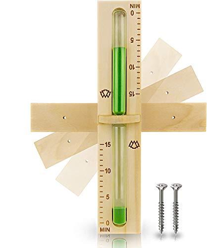 15 Minuten Sauna Sanduhr aus 100% nordischer Fichte - Glas robust & hitzebeständig - Kontrastfarbe Grün + 2 Edelstahl Schrauben - Hochwertiges Sauna Zubehör - 60 Tage...