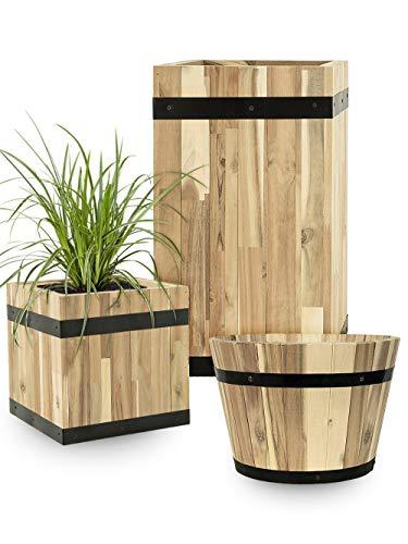 Pflanzwerk® Pflanzkübel Cup Holz Ø37cm 100% Bio-AKAZIENHOLZ Weinfass Holzfass *Frostbeständiger Blumenkübel* *Bio Pflanzenkübel* *Nachhaltige Qualitätsware
