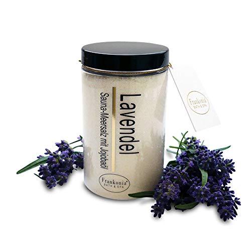Sauna Salz Peeling – Lavendel 400g - Meersalz m. Jojobaöl Vitamin E Body Scrub – Dusch- und Körperpeeling für alle Hauttypen – vegan – ohne Parabene